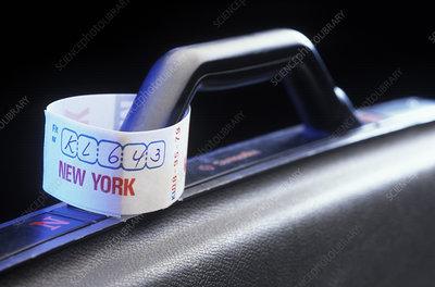 Identification label on luggage