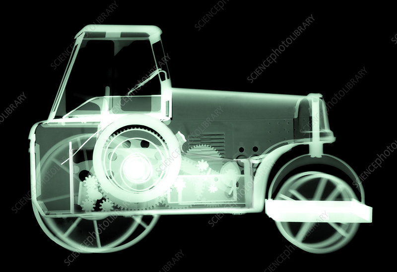 Toy tin tractor, X-ray