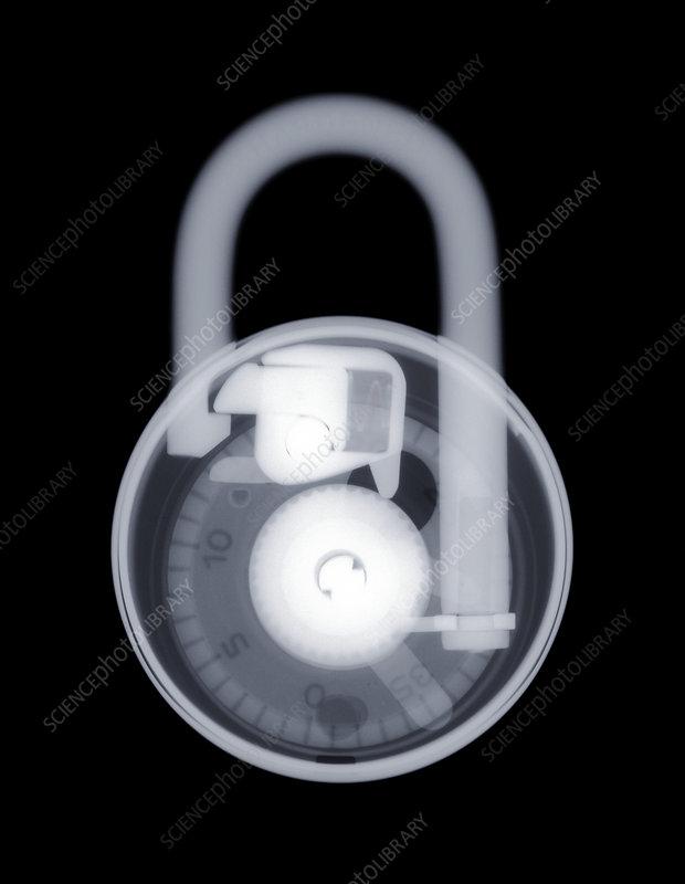 Combination padlock, X-ray