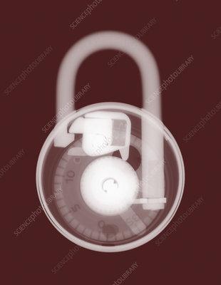 Combination padlock, coloured X-ray