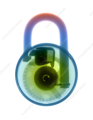Combination padlock, coloured X-ray