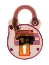 Padlock, coloured X-ray