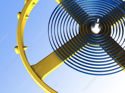 Balance wheel of a watch, artwork