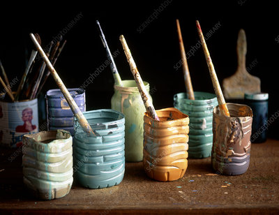 Paintbrushes in pots