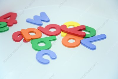 Foam letters and numbers floating