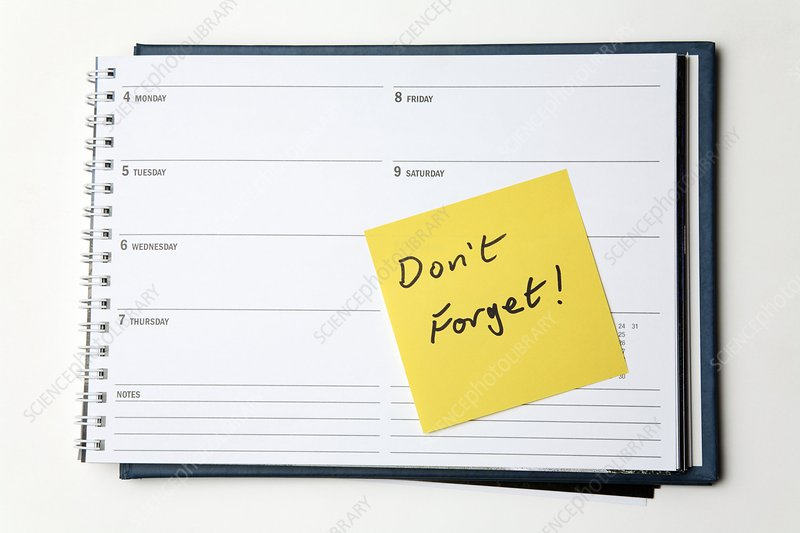 Diary reminder, post-it note