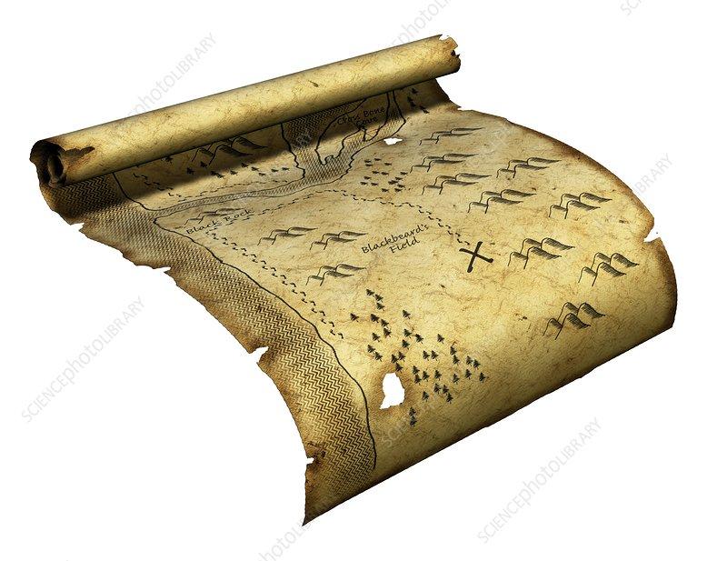 Pirate's treasure map, artwork