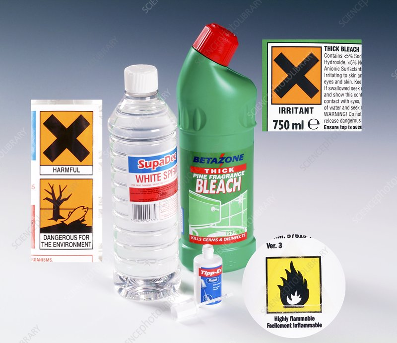 Household chemical warning labels