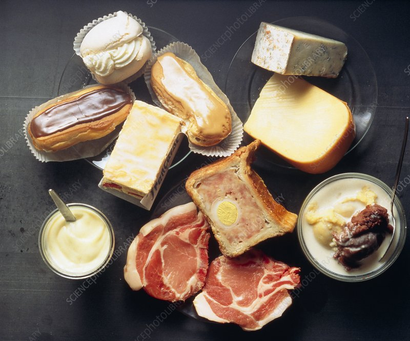 Mixture of fatty foods, (cakes,cheese, meat)