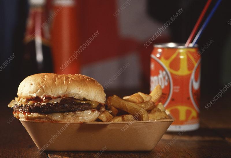Junk food; hamburger, chips & fizzy drink