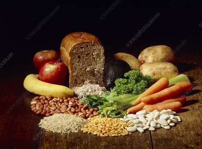 Collection of high fibre foods