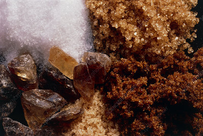 Macrophoto of different types of sugar
