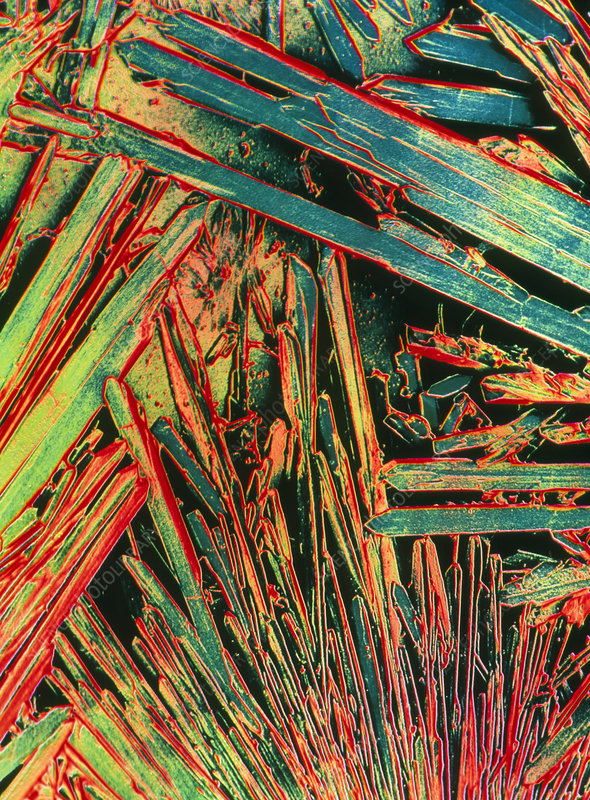 False-colour SEM of crystals of saccharin
