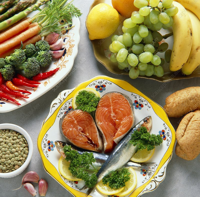 Healthy food; fish, fruit, vegetables and bread.