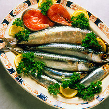 Oily fish; salmon, herring, mackerel & sardines.