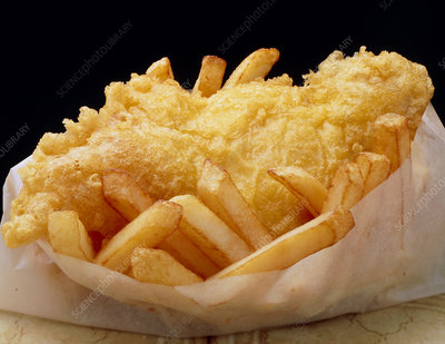 Close up of fried fish & chips