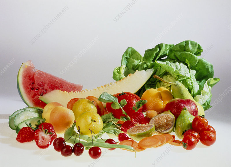 Collection of summer fruits and vegetables