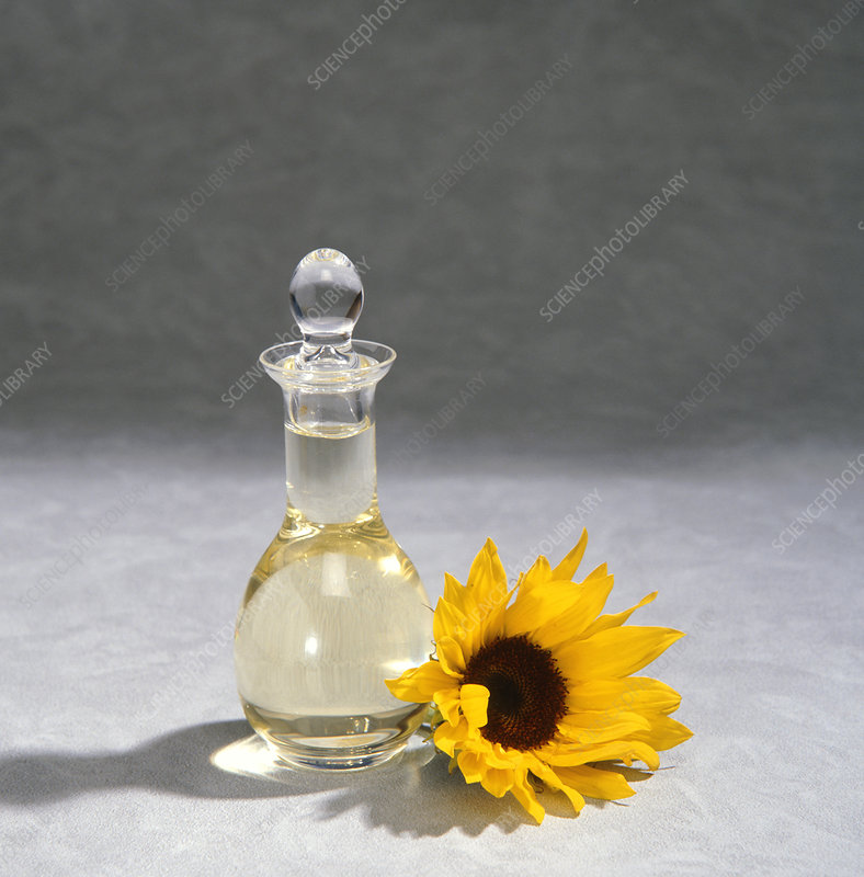 A decanter of sunflower oil