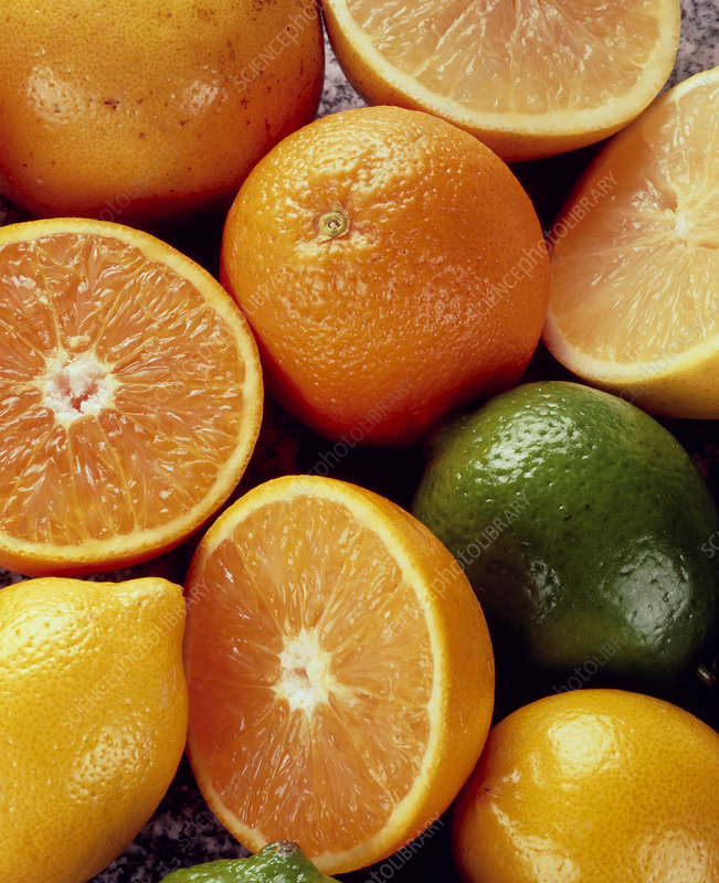 Close-up of a collection of citrus fruit