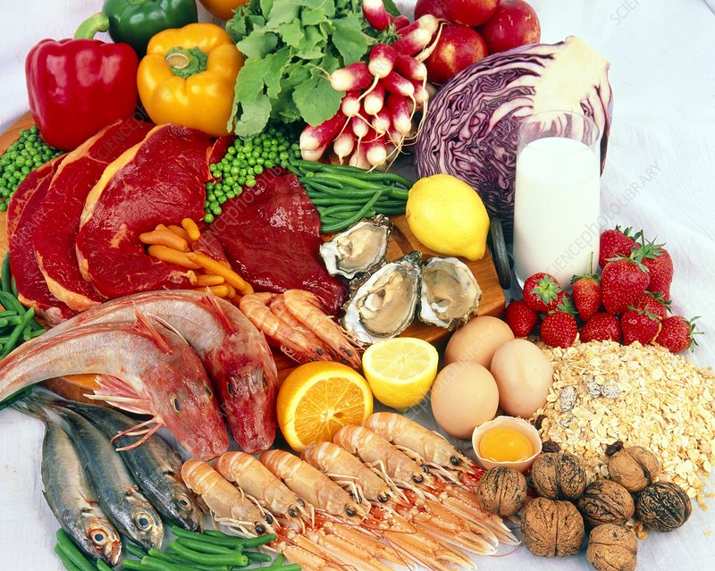 Selection of seafoods, meat and vegetables