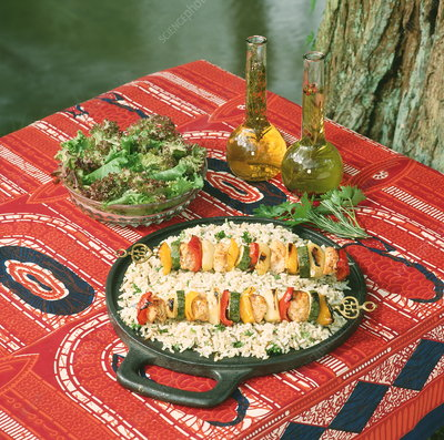 Chicken kebabs with rice and salad