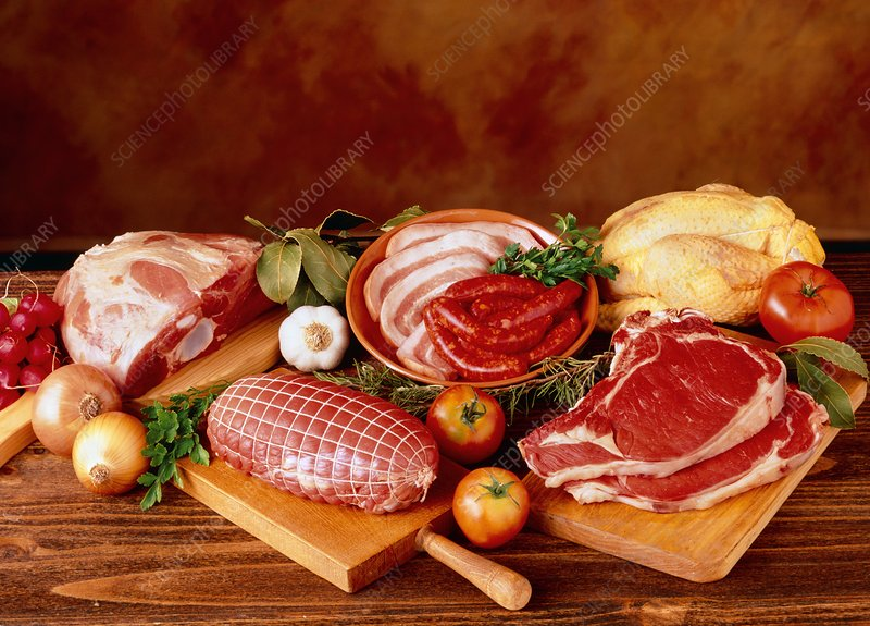 Assorted red meats, bacon, sausage and chicken