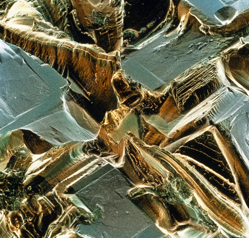 Coloured SEM of sea salt crystals