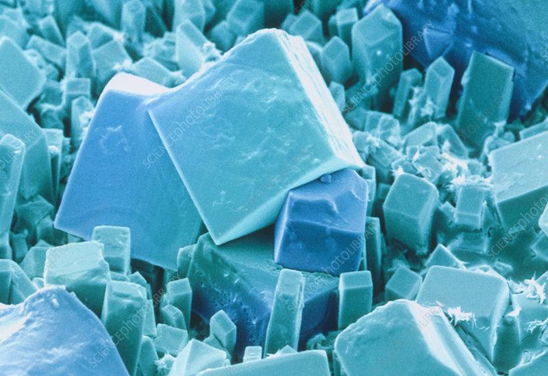 Coloured SEM of common salt, sodium chloride