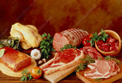 Selection of meats: pork, lamb, beef and chicken