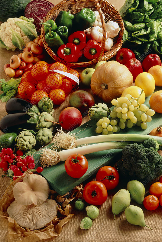 Selection of fresh fruit and vegetables - Stock Image H110 ...