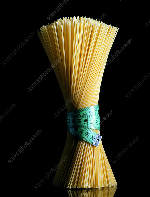 Sheaf of spaghetti tied with a tape measure