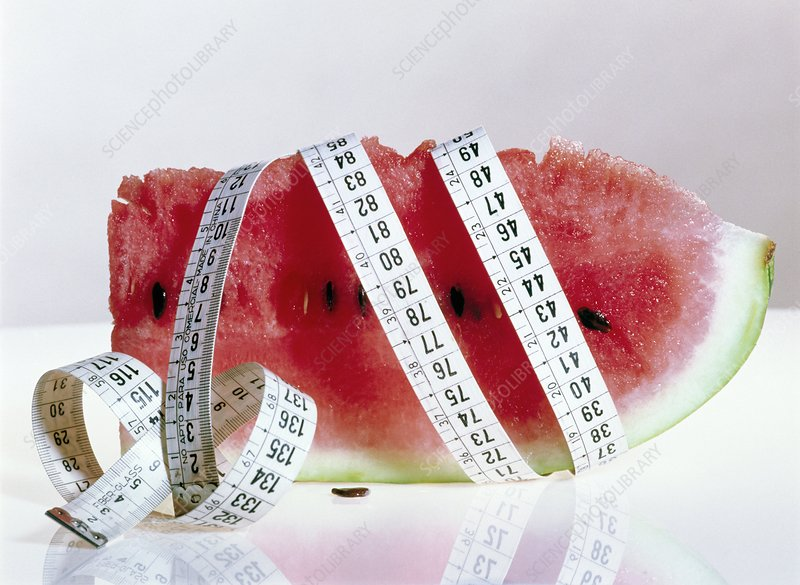 Fresh cut watermelon with a tape measure
