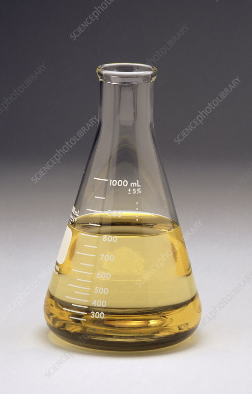 Rape seed oil in laboratory flask