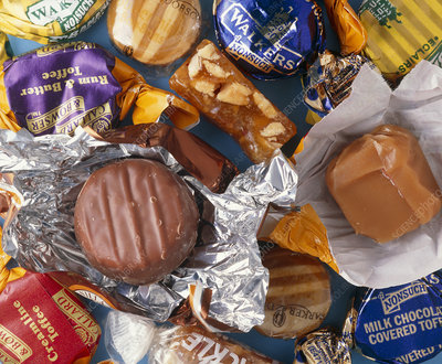 Assortment of confectionery including chocolate