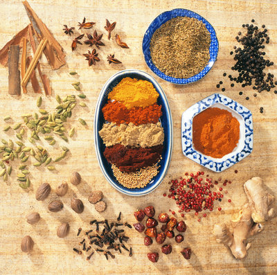 A collection of ground and whole spices