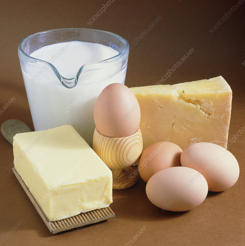 A selection of dairy produce and eggs.
