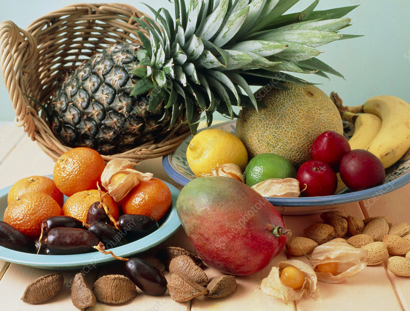 Selection of tropical fruits and nuts