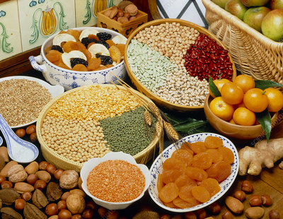 Selection of pulses, nuts and dried & fresh fruits