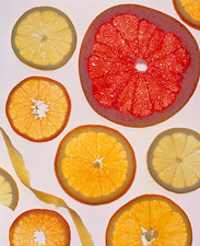 Selection of citrus fruits rich in vitamin C