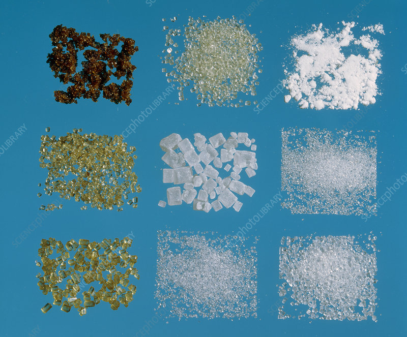 Selection of different types of sugar crystals