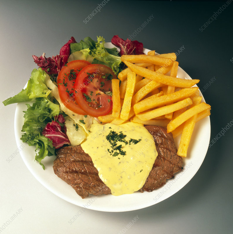 Plate of steak bearnaise, chips and salad