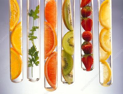 Vitamin C-rich foods presented in test tu