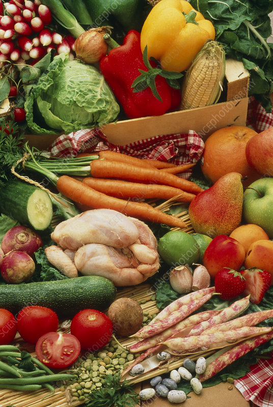 Selection of healthy vegetables, fruit and meats - Stock ...