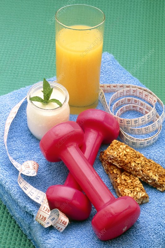 Healthy food with exercise and dieting equipment
