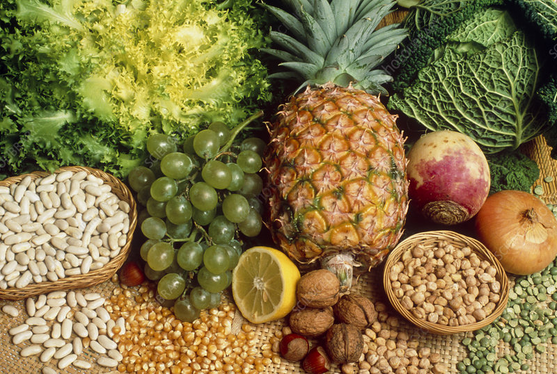Selection of foods rich in fibre