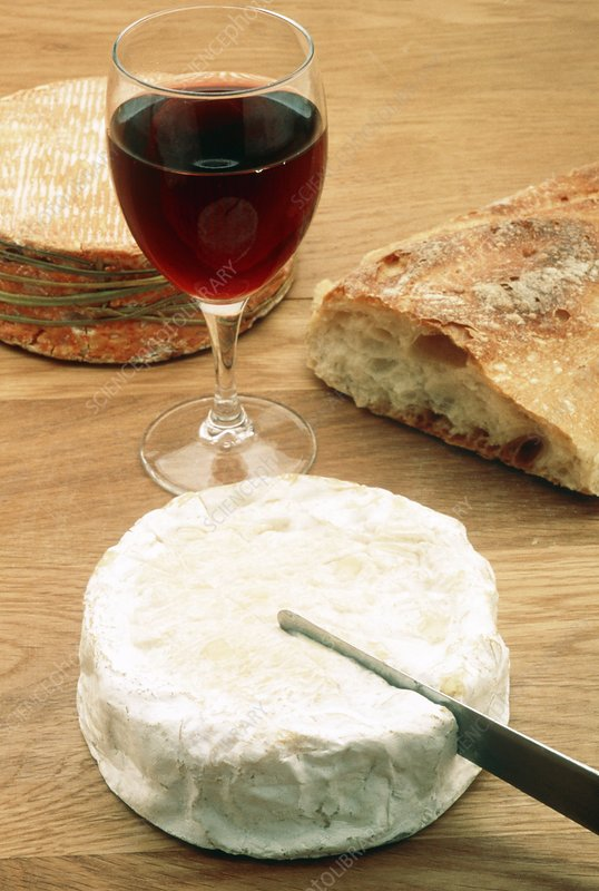 Glass of red wine with cheese and bread