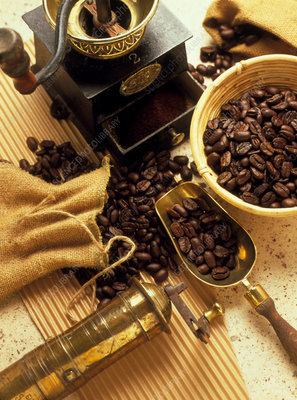 Coffee beans with grinding machine