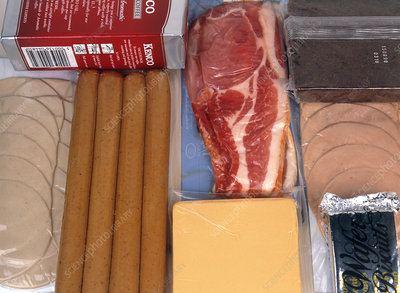 Assortment of vacuum-packaged foods