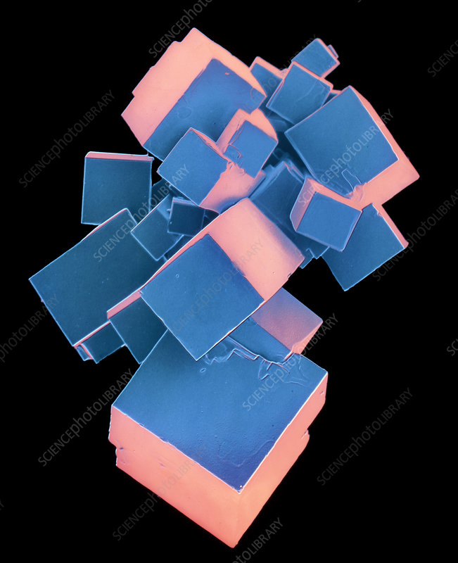 Coloured SEM of pure salt crystals