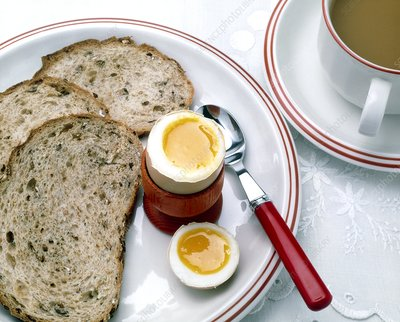 View of a healthy breakfast of egg, bread and tea